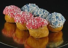 """kraam soesjes... in holland we always serve these little sprinkles when a baby is born....normally we put it on round crispy bread """"beschuit met muisjes"""" ..these are puffs"""