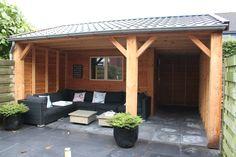 Schuur incl. veranda, 5x5 mtr, gemaakt van Douglas hout