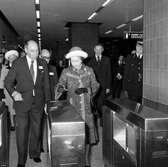 Queen Elizabeth II pictured in 1977 at Heathrow Central station in London when she officially opened the 30 million pound Piccadilly Line extension linking Heathrow Airport with London's underground railway system