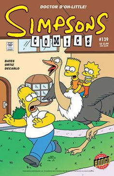Bart and Lisa happily riding an ostrich who attempt to raid Homer, who was running from it.