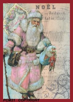 French Pink Santa Quilt Block Antique St. by mermaidfabricshop