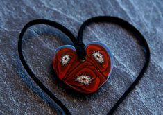 Resin Necklace pendant for women Red heart necklace Epoxy