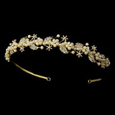 Fiona Gold Ivory Faux Pearl and Rhinestone Floral Vine Wedding Bridal Tiara Headband * This is an Amazon Affiliate link. To view further for this item, visit the image link.