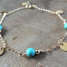 Turquoise And Coins Bracelet
