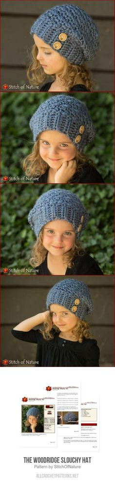 The Woodridge Slouchy Hat crochet pattern Crochet For Kids, Free Crochet, Crochet Baby, Crochet Slouchy Hat, Knitted Hats, Velvet Acorn, Knitting Patterns, Crochet Patterns, Kids Hats