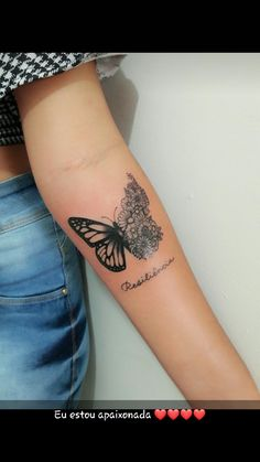 Our Website is the greatest collection of tattoos designs and artists. Search for more Butterfly Tattoo designs. Tattoos Bein, Bff Tattoos, Wrist Tattoos, Body Art Tattoos, Tattoos For Guys, Tatoos, Buddha Tattoos, Best Friend Tattoos, Tattoo Arm