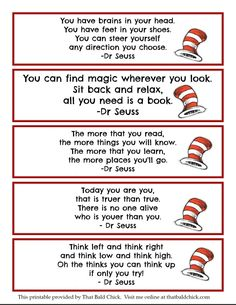 Printable Dr Seuss Quote Bookmarks @thatbaldchick