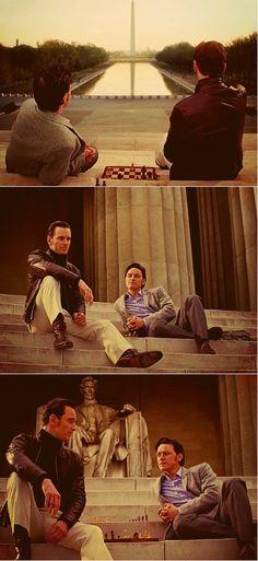 James McAvoy as Charles Xavier (Professor X) and Michael Fassbender as Erik Lensherr (Magneto), X-men First Class