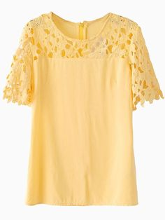 Yellow Blouse With Contrast Lace Panel