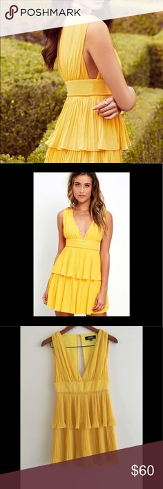 Lulus yellow dress Lulus pleated dress. Never worn. Sold out! Lulu's Dresses Mini