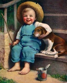 Items similar to Vintage Painting For The Cover Of A Country Gentleman, Little Boy And His Dog, Going Fishing, Digital Art on Etsy Vintage Ephemera, Vintage Cards, Vintage Pictures, Dog Art, Vintage Children, Belle Photo, Vintage Prints, Illustrators, Art For Kids
