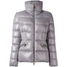 Moncler 'Daphne' padded jacket (7.845 NOK) ❤ liked on Polyvore featuring outerwear, jackets, grey, logo jackets, moncler, gray jacket, zip front jacket and moncler jacket