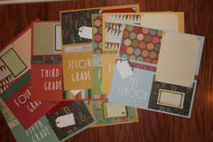 12 x 12 school scrapbook layout set of 8 by creationsbycindyg, $49.00