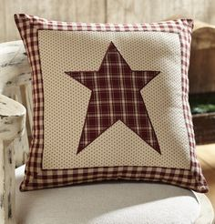 """Cheston Star Fabric Pillow 16"""" Filled – Primitive Star Quilt Shop"""