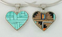Native American Stone Inlay and Sterling Silver Reversible Medicine Heart Pendant