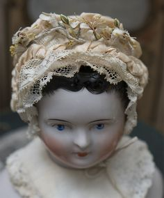 Antique Original Small Pique Bonnet and Collar for Tiny French Jumeau Bru Steiner Bebe or German doll Antique dolls at Respectfulbear.com