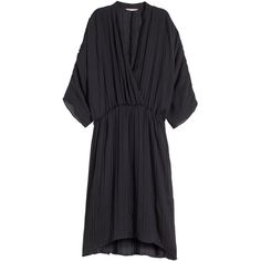 H&M+ Pleated dress ($45) ❤ liked on Polyvore featuring dresses, black, plus size, pleated dress, wrap around dress, plus size knee length dresses, black wrap dress and women plus size dresses