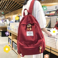 Student Female Fashion Backpack Cute Women School Bags Teenage Girls C cuteshoeswear highschool backpack backpack outfit school backpacks for highschool Cute Backpacks For Highschool, Backpacks For Teens School, Backpack For Teens, Backpack Outfit, Red Backpack, Backpack Bags, Fashion Backpack, Messenger Bags, Cute School Bags