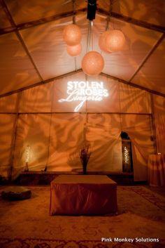 Textured Lighting, custom monogram, paper lantern chandelier in tent Pink Monkey Solutions | Vail, Colorado | Denver, Colorado