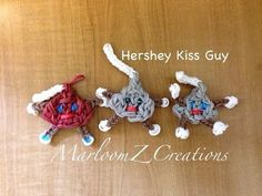 Rainbow Loom HERSHEY KISS CHARACTER Charm. Designed and loomed by MarloomZ Creations. Click photo for YouTube tutorial. 03/10/14.