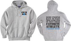 Swim mom shirt. Favorite Athlete. Gray Hoodie by PinkPigPrinting