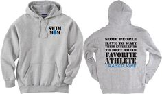 Swim mom shirt.  Favorite Athlete. Gray Hoodie Sweatshirt.