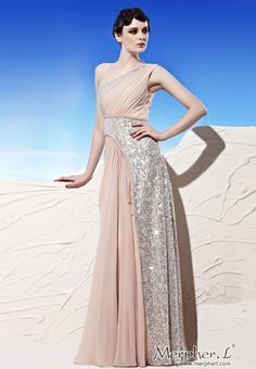 Pink One Shoulder Stamping Process Pleated Prom Dress Formal Ball Gown