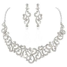 EVER FAITH Bridal Flower Wave Necklace Earrings Set Austrian Crystal SilverTone Clear -- Check out the image by visiting the link.