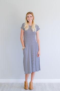Olive Ave - Striped Jay Dress- Navy , $26.75…