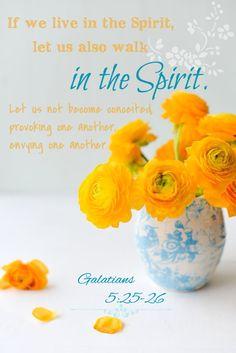 Gálatas 5:25-26 Si vivimos por el Espíritu, andemos también por el Espíritu. No nos hagamos vanagloriosos, irritándonos unos a otros, envidiándonos unos a otros. ♔