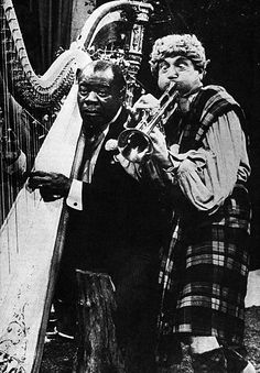 Louis Armstrong and Harpo Marx: Classic Hollywood, Old Hollywood, Zeppo Marx, The Music Man, Abbott And Costello, Laurel And Hardy, Louis Armstrong, Jazz Blues, Funny People