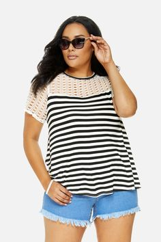 Plus Size Crochet Sleeve Striped Top