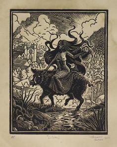 Lilith - Woodcut on Paper - Thomas Shahan $48