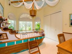 Kids Bedroom Furniture Ideas - Pirate Ship Sea Themed Bedroom For Kids.