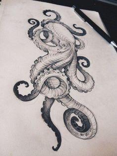 Kraken vs megalodon Mega Shark vs Giant Octopus' [be… Octopus Drawing, Octopus Tattoo Design, Octopus Tattoos, Leg Tattoos, Body Art Tattoos, Cool Tattoos, Octopus Sketch, Octopus Illustration, Ship Tattoos