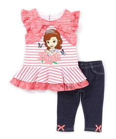 Look at this Pink Stripe Sofia the First Dress & Jeggings - Girls on #zulily today!