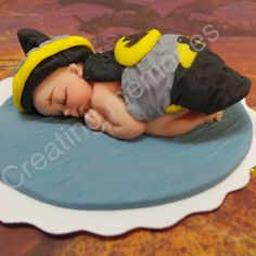 Batbaby Superhero Cake Topper/Ready to be the center of attention on your cake. For Baby Shower, Birthdays Celebration Superhero Cake Toppers, Skin Color Chart, Satin Ice Fondant, More Cupcakes, Fondant Cake Toppers, Peanut Oil, Make Arrangements, First Baby, Gum Paste