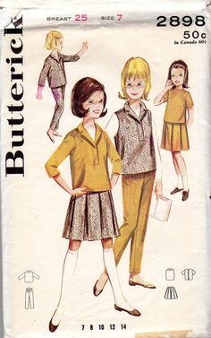 1960s Girls' Pullover Shirt Vest Skirt  Blouse & by JeaniesShop