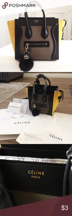 ✖️TRADED @myion✖️ CÉLINE Tricolor Luggage Tote This LIMITED EDITION beauty is crafted from genuine black calfskin leather with an olive pebbled center and amber suede wings. Suede was professionally deep-cleaned and protected ($175) and comes with a CUSTOM-MADE genuine rabbit fur bag charm ($75). Original receipt will be provided upon request. Guaranteed 100% AUTHENTIC. Overall LIKE NEW condition, minor scuffs on leather and hardware. Comes with: original tags, dust bag, authenticity cards…