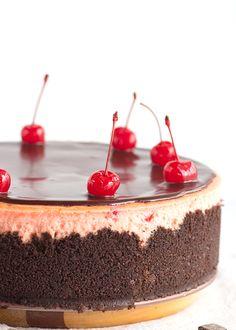 Maraschino cherry lovers, this cherry chocolate chip cheesecake has your name on it. It's packed full of maraschino cherries and bits of chocolate.