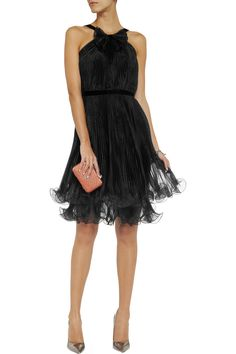 Notte by Marchesa Ruffled pleated organza dress