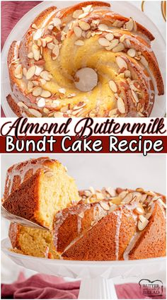 Almond bundt cake made with classic ingredients and then topped with a smooth almond glaze and crunchy almond slices. Gorgeous bundt cake that's simple to make & tastes delicious! #cake #bundt #almond #baking #dessert #easyrecipe from BUTTER WITH A SIDE OF BREAD Almond Bundt Cake Recipe, Bundt Pound Cake Recipe, Easy Vanilla Cake Recipe, Layer Cake Recipes, Sheet Cake Recipes, Delicious Cake Recipes, Homemade Cake Recipes, Tart Recipes, Brunch Recipes