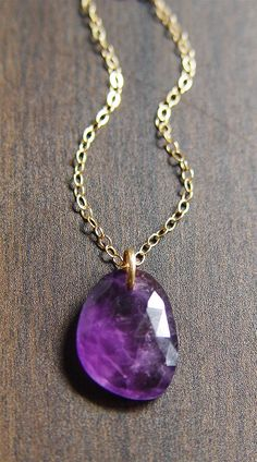 Amethyst Diamond Gold Necklace