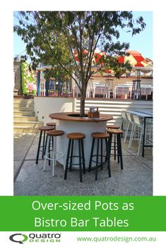 Ideas on how to use pots, planters and plants as bar and public seating. Outdoor Dining, Dining Area, Outdoor Tables, Dining Table, Outdoor Decor, Public Seating, Greenery, Outdoor Furniture Sets, Pots