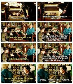 I love Mary! --- this spot though I was wondering how and why Mary could know that Sherlock was fibbing.