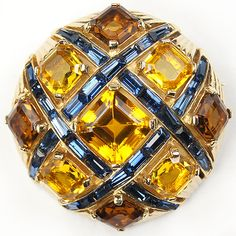 MB Boucher Gold, Citrine, Topaz and Sapphire Baguettes Checkerboard Button Pin