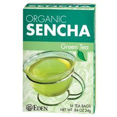Organic Sencha tea. Hand picked first spring tea leaves steamed and twice rubbed to capture its cherished green, aroma, flavor, and antioxidant catechins. 16 Tea Bags/Box.  #EdenFoods