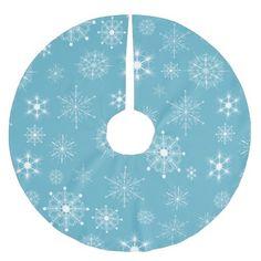 Blue Snowflake Christmas holiday Tree Skirt. #decor #christmas