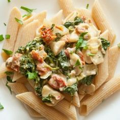 Penne and Spinach in Cream Sauce