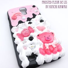 Decoden style hard plastic Samsung Galaxy case with frosting and 'whipped cream'. Features an ice cream/sweets theme.<br /><br />Note: not intended for children as small parts may become a choking hazard. Whipped Cream, Ice Cream, Samsung Galaxy S4 Cases, Printed Gowns, Kawaii Shop, Decoden, Indie Brands, Ipod Touch, Frosting